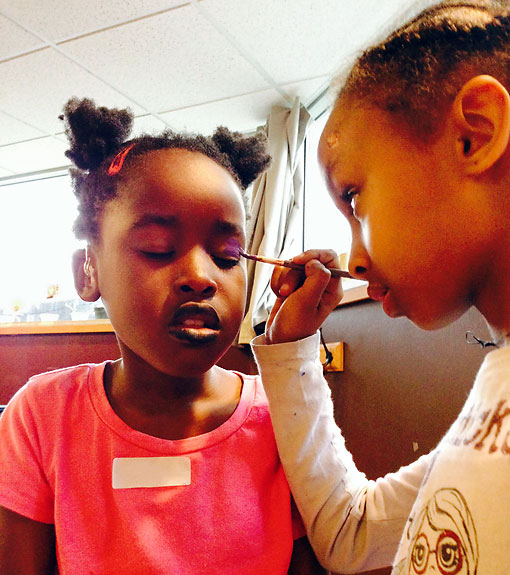 A Couple Elementary Students Facepaint