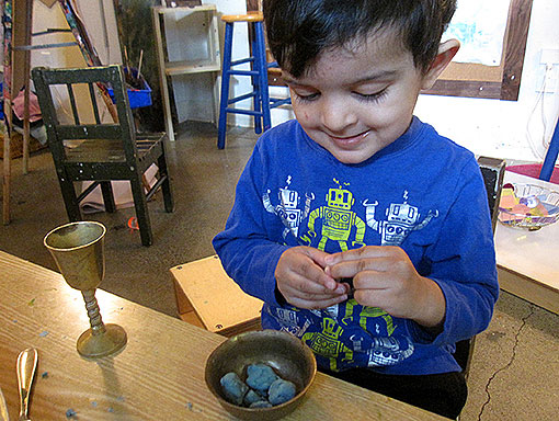 Preschool Students works with Clay