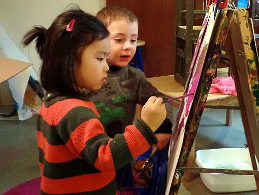 Preschool students paints