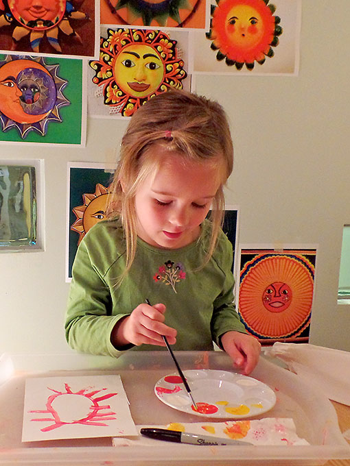 "Preschool Student Paints ""El Sol"""