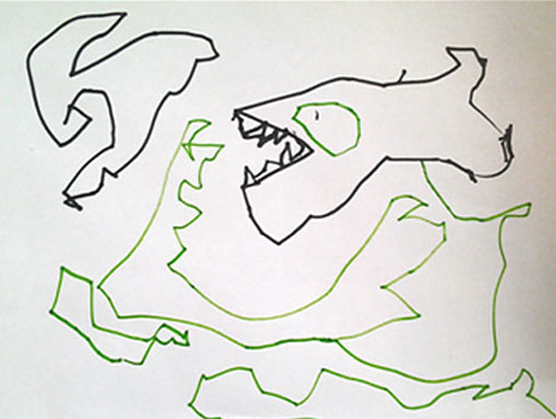 Preschool Students Monster Drawing