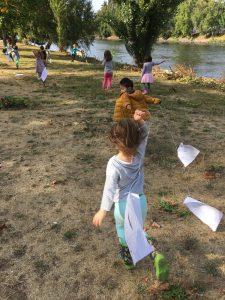 Hilltop Children Flying Kites