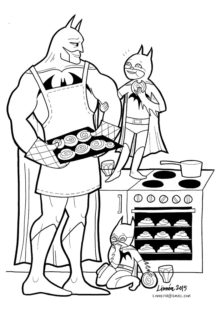 Batman baking cookies