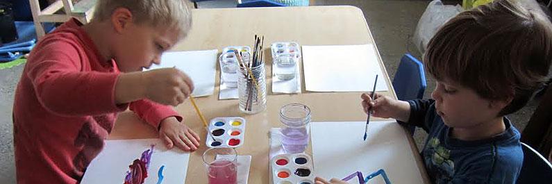 Preschool Students Paint