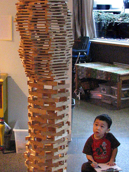 Preschooler builds Wooden Tower
